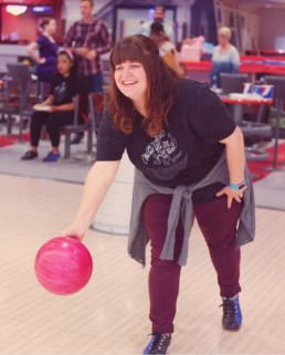 happy girl bowling
